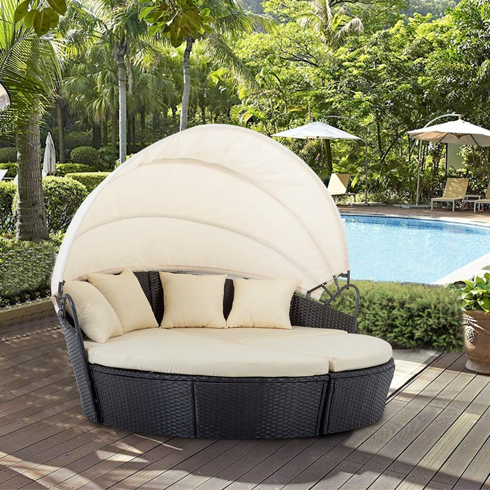 Bestmage Outdoor Patio Round Daybed Furniture Wicker Rattan Sofa Set Sunbed Retractable Canopy Waterproof Cushions Lawn